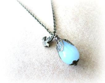 Light blue teardrop necklace jewelry with sparrow antique brass bronze - Light blue necklace