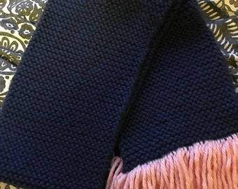 Navy and Baby Pink Handknit Scarf
