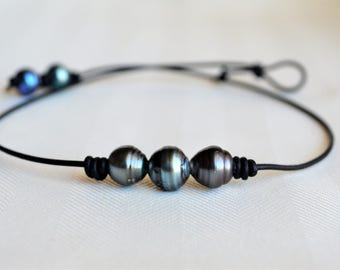 Genuine Tahitian Pearls Choker Salt Water Pearls Three Pearls On Leather Trio Dark Tahitian Sea Pearls Three Wishes Gifts For Her Yevga