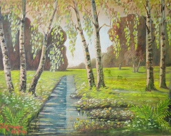 Birch Tree Painting - 1946 Country Landscape Painting - 20x14 Vintage Framed Original Art - Green Park Life Wall Decor - Spring Home Decor
