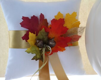 Fall Wedding Ring Bearer Pillow / Wedding Accessories / Leaves Pillow