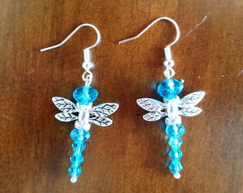 Dragonfly Earrings, Blue and Silver Earrings, Dangle Earrings, Drop Earrings, Nickle Free Earrings, Come in a Gift Box