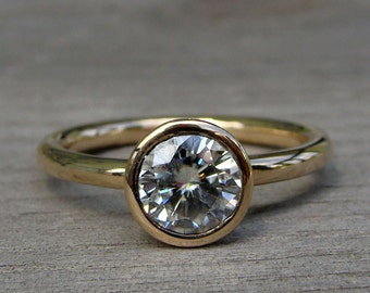 Moissanite Engagement Ring - Classic and Simple in Recycled 14k Yellow Gold - Eco-Friendly, Solitaire, Made To Order - Diamond Alternative