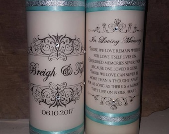 Unity Candle Set , Unity Candle, Memorial Candle, Memory Candle, Wedding Candle - 4 pc set