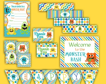 Boy's Little Monsters Printable Party Kit - INSTANT DOWNLOAD