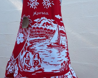 722 a Hula Girl bib apron / vintage 1970's / gift MOM/birthday/Moorea / BorBora / red and white cotton with 1 large Pocket