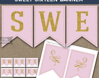 Sweet Sixteen Banner - Printable Sweet 16 Birthday Banner - Pink & Gold Glitter Sixteenth Birthday Party Decorations - Instant Download