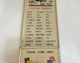 Vintage Retro Metal Shopping Reminder List and Stamp Saver Wall Hanger