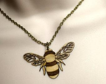 Laser cut Birch wood 'BEE' necklace