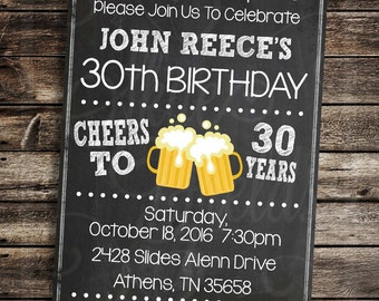 Cheers & Beers Birthday Invitation - DIY Custom Printable Birthday Invitation - Party Printables -  21st, 30th, 40th, 50th, 60th