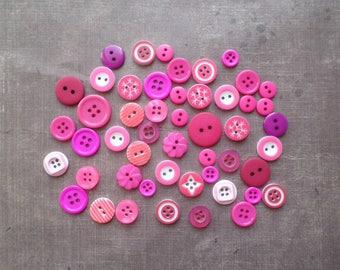 50 buttons round color shade number 2 fuchsia pink
