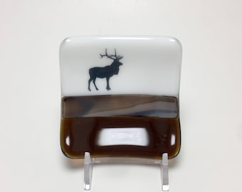 Fused glass plate, elk plate, handmade glass dish, themed dish, home decor, jewelry dish, candy dish, spoonrest, dish, fused glass plate