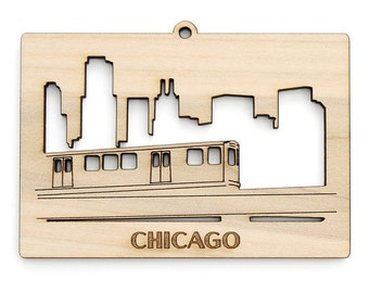 "Chicago ""L"" Train and Skyline Ornament - from Timber Green Woods. Sustainable Harvest Wood. Made in the USA!"