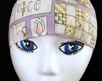 Easter Skull Cap or Chemo Cap, Hat , Alopecia, Hair Loss, Bald, Surgical Cap, Christian, Church, Head Wrap, Do Rag, Helmet Liner, Motorcycle