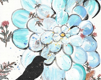 For The Birds - original painting, Black Bird and Blue Zinnia Flower painted on Vintage Wallpaper