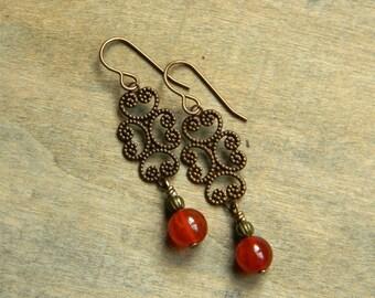 Gemstone earrings carnelian earrings brass filigree earrings delicate jewelry unique gift for her burnt orange handmade dangle earrings