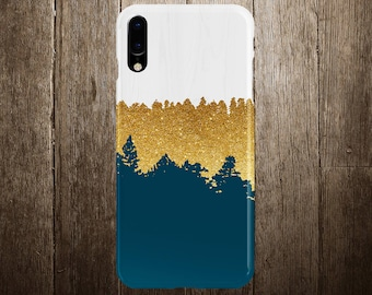 Geometric Gold Glitter Navy Blue Wood Phone Case, iPhone X, iPhone X Plus, Tough iPhone Case, Galaxy s9, Samsung Galaxy Case, CASE ESCAPE