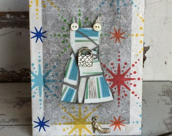 Collage Art Dress - Broken China Mosaic Striped Mixed Media Art - Picture