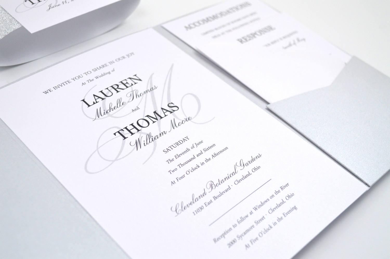 SALE Monogram Wedding Invitation Pocketfold Wedding
