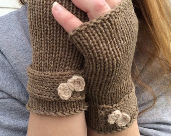 Fingerless Gloves, Knit,  Bow gloves, Knit Fingerless Gloves with Bow, Knit Fingerless gloves,  Hand Warmers, Texting Gloves, Ready to Ship