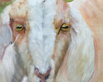 Farm Painting Goat Art Original Oil Painting 9X12