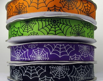 "2 or More Yards 7/8"" Colorful Spider Web Print Grosgrain Ribbon - Choice of Color"