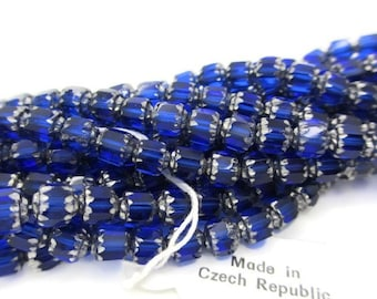 Vintage Royal Blue and Silver Czech Glass Beads Cathedral Cut, 25pcs, 6mm