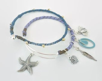 Handmade Silk Wrapped Bangles - OPENABLE Bangle Set - Minimalist Bangle - Tribal Gypsy Jewelry - Artisan Bangle - Ball and Hook Bangle