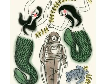 Mermaid Wall Art - Mermaid Artwork - Mermaid Art - Mermaid Print  - 4 for 3 SALE - The Welcoming Party  -   4 X 6 mermaids print