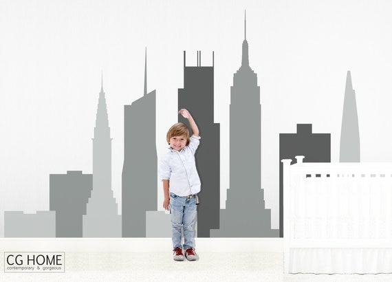 Nursery Bedroom Design Skyline Wall Decal Urban Silhouette New York Skyscraper Manhattan Wall Sticker City Vinyl Removable Baby Room Decor