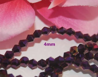 Lot 50 Crystal Bicone 4mm opaque purple faceted bicone beads