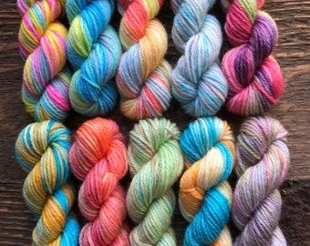 Hand Dyed Sock Yarn Mini Skein Set #147 -- 10 Mini Skeins/25 Yards Each