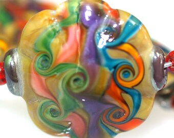 Lampwork glass beads Color in Desert 25mm Stones (5), jewelry supplies, handmade lampwork, beads