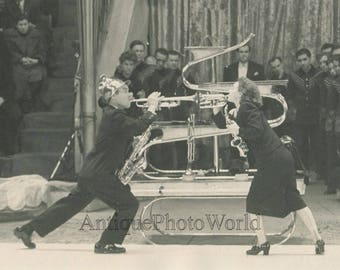Russian Soviet circus act with trumpets vintage photo