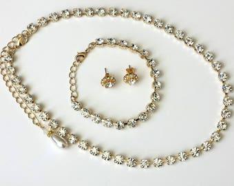 Swarovski Crystal Jewelry Set Bridals Crystal Tennis Jewelry Swarovski Rhinestone Jewelry Crystal Tennis Jewelry Set Prom Jewelry