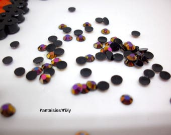 (STR1) Set of 100 black flat back with nice reflections multicolor 3mm rhinestones