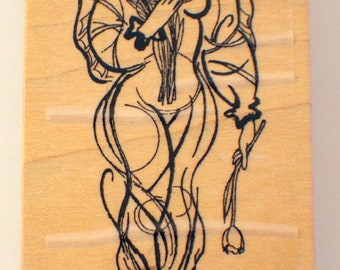 Stampington An Deco Emergence P2224 Angel With A Tulip Wooden Rubber Stamp