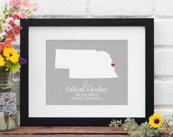 State Map Art, Personalized Wedding Gift, State Map Print, Nebraska Art, Personalized Nebraska State Map, Gifts Under 25 - Art Print