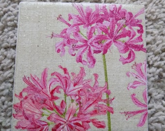 Piink Geranium Ceramic Tile Coasters (set of 4)
