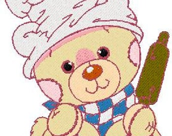 Chef bear machine embroidery