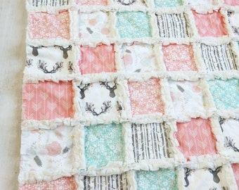 Floral Stag Woodland Minky Rag Quilt