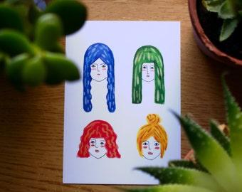 SALE // Little Ladies Postcard