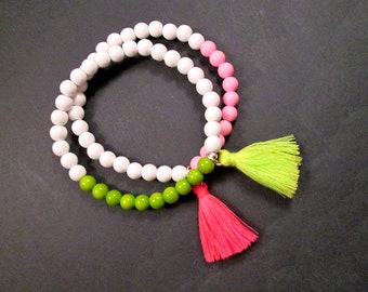 Two for One SALE, 2 Tassel Stretch Bracelets, White Green and Pink Glass Beaded, Silver Stacking Bracelets, FREE Shipping U.S.