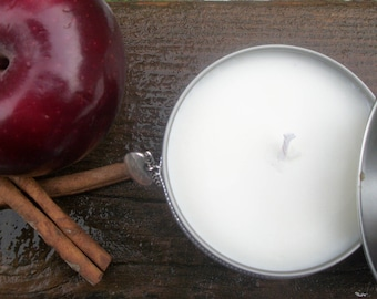 Apple Cinnamon scented soy candle-hand poured soy candle-Autumn candle-Fall gift-8 oz candle with charm-16 oz candle-christmas candle-apple