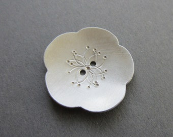 Cherry Blossom Button silvertone metal 1 inch flower artisan handmade