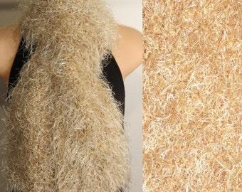 Handmade Scarf Hand Knit Boa Eyelash Cream