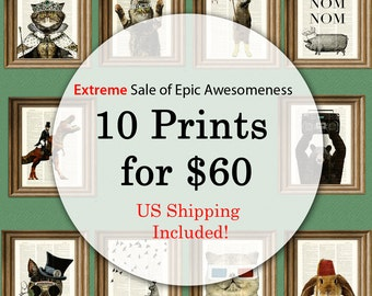 Buy 10 prints for 60 dollars Sale Free Domestic Shipping upcycled dictionary page book art prints