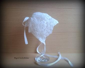 Baptism Girls hat ,white lace hat, Christening bonnet,lace bonnet,Baptism bonnet,white lace bonnet,lace photo hat,white bonnet,girl lace hat