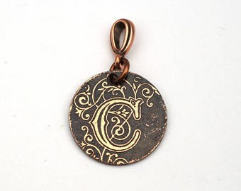 Small letter C pendant, round etched copper initial jewelry, optional necklace, 22mm