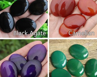 Large Gemstone Cabochons, Natural Amethyst/ Agate/ Sandstone/ Unakite Big 30*40mm Oval Stone Cabs Supplies (HX174/175)